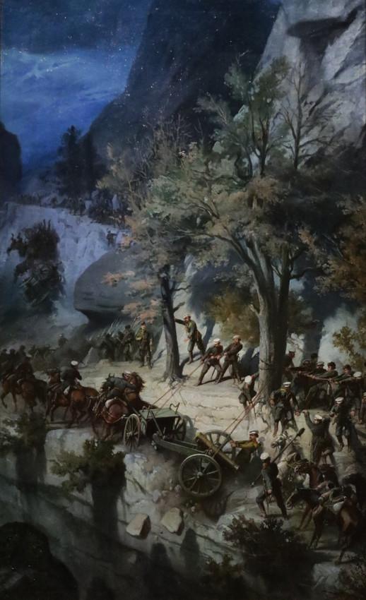 Шарлемань Адольф. Переход лейб-гвардии 6-й Донской батареи через Балканы в 1877 году. 1879