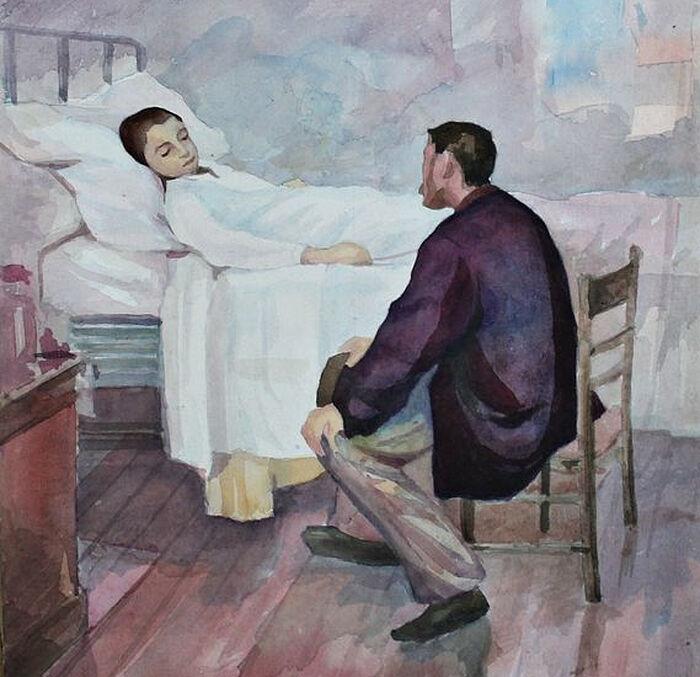 Ημέρα επισκέψεων στο νοσοκομείο. Ζωγράφος: Henry Jules Jean Geoffroy