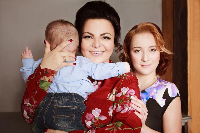 Γιελένα Λεωνίντοβνα Νικολάγιεβα με τον γιό της, Λεβούσκα, και την μεγαλύτερη κόρη της