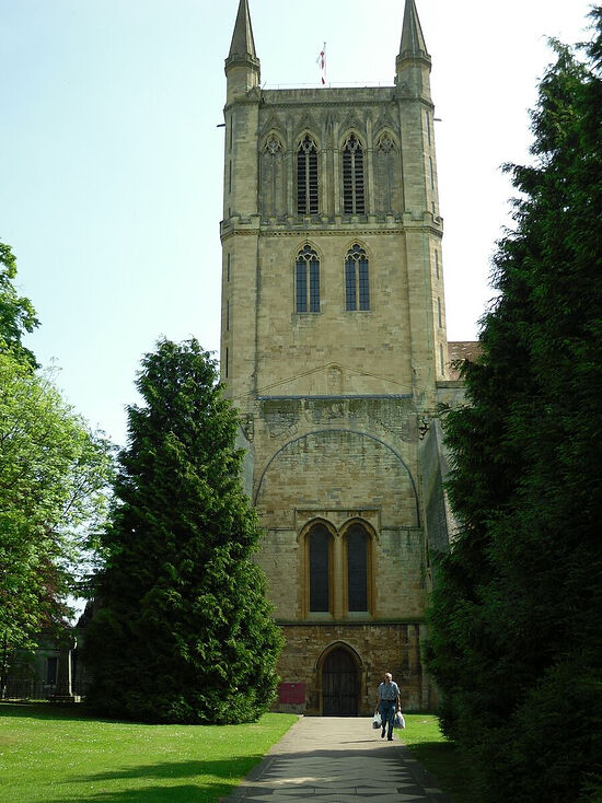 Pershore Abbey's tower in Pershore, Worcs (photo by Irina Lapa)
