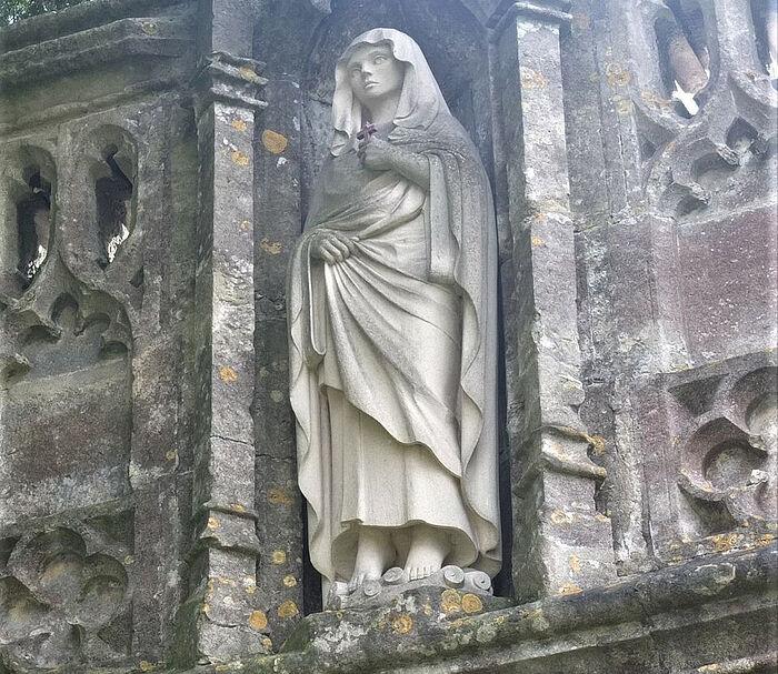 St. Arilda's new statue at St. Arilda's Church in Oldbury-on-Severn, Glos (kindly provided by Martin Fardell, the parish of Oldbury-on-Severn)