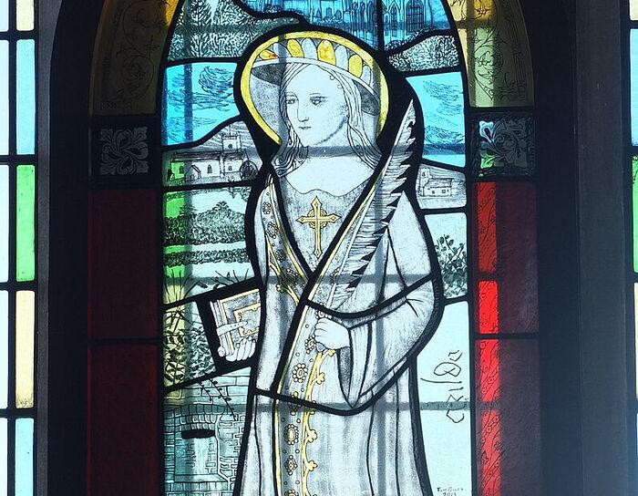 St. Arilda's stained glass window at St. Arilda's Church in Oldbury-on-Severn, Glos (provided by Martin Fardell, Oldbury-on-Severn)