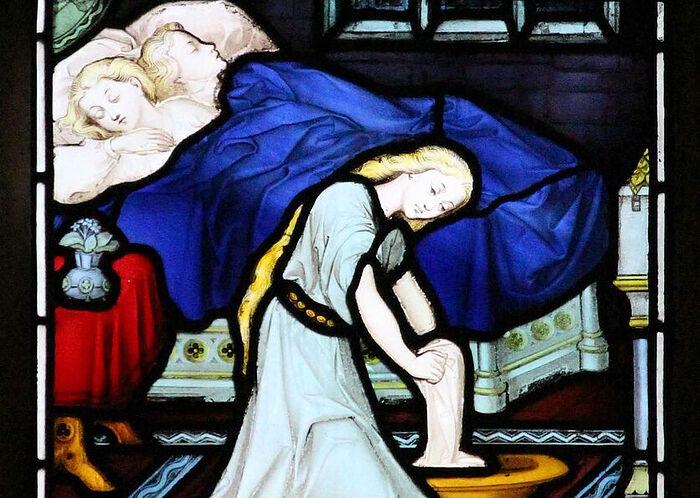 Stained glass depicting St. Edburga's Life scene inside Pershore Abbey, Worcs (kindly provided by Dr. Judith Dale)