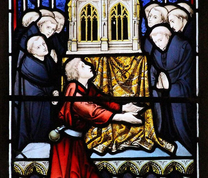 Stained glass depicting St. Edburga's medieval shrine and miracles at Pershore Abbey, Worcs (kindly provided by Dr. Judith Dale)