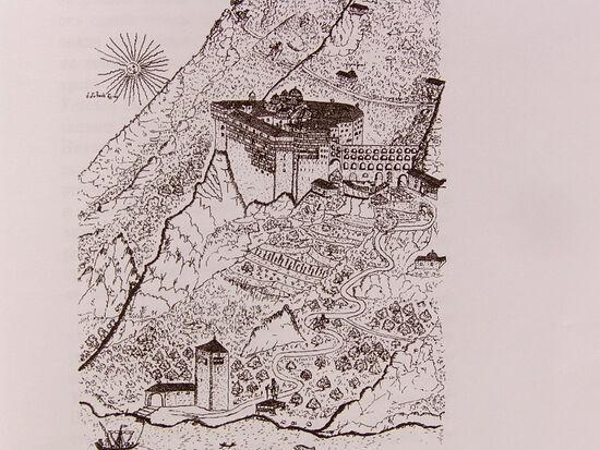 Το σχέδιο της Ιεράς Μονής Σίμωνος Πέτρα ζωγραφισμένο από τον Βασίλειο Γκριγκορόβιτς-Μπάρσκι