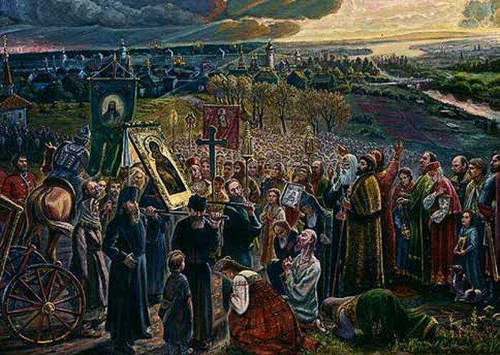 Сретение иконы Владимирской Богоматери жителями Москвы 8 сентября 1395 г. в память избавления Москвы от нашествия Тамерлана