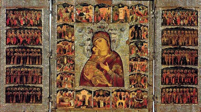 Икона Владимирская с праздниками в 18 клеймах и с 10 ликами святых на створках. Складень трехстворчатый