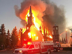 Churches burned to the ground in Canada in 'anti-church hate crime wave'