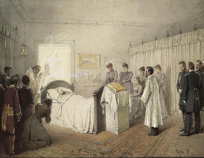 Михаил Зичи. Заупокойная служба по умершему Александру III в комнате Ливадийского дворца 21 октября 1894 г.