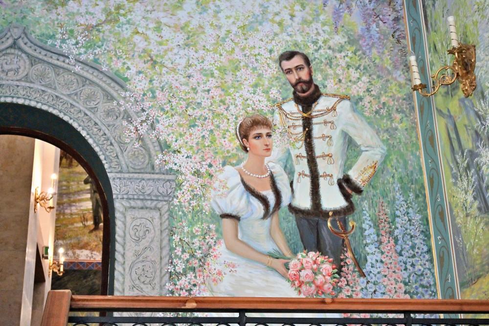 Ο Αυτοκράτορας Νικόλαος Β΄ και η Αυτοκράτειρα Αλεξάνδρα. Οι τοιχογραφίες είναι της Μαρίας Βισνιάκ