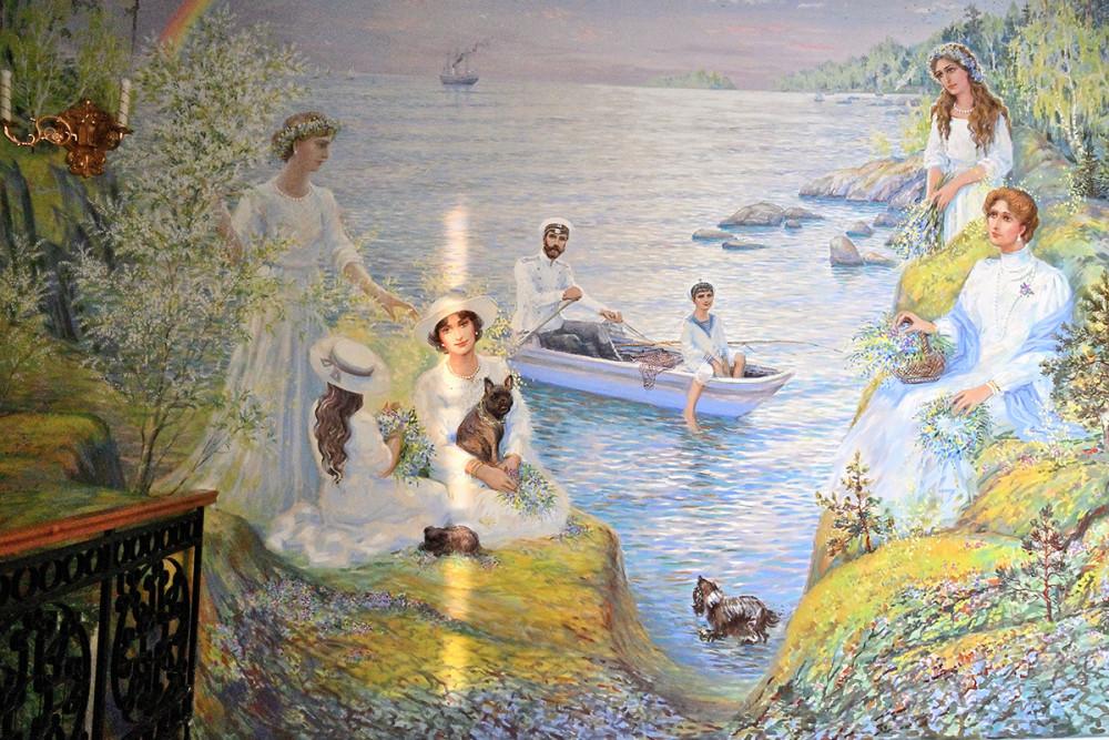 Η τσαρική οικογένεια σε διακοπές. Οι τοιχογραφίες είναι της Μαρίας Βισνιάκ