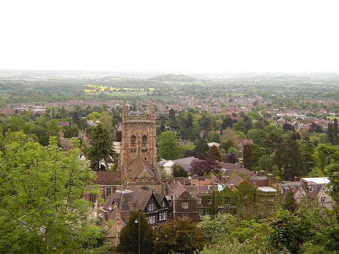 A view of Great Malvern Priory from the Malvern Hills, Worcs (photo by Irina Lapa)