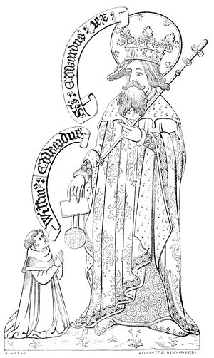Edward the Confessor is bestowing grant upon St. Werstan (Archaeological Journal, Vol. 2, from Wikisource.org)