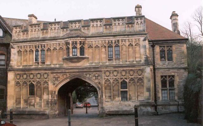 Former gatehouse of Great Malvern Priory, now the Malvern Museum, Worcs
