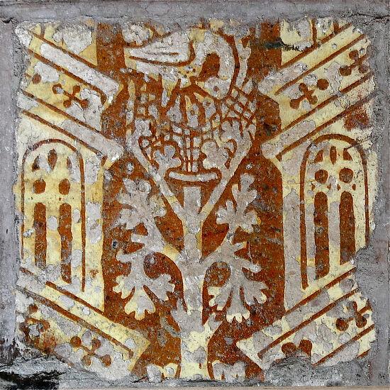 Medieval tiles inside Great Malvern Priory, Worcs