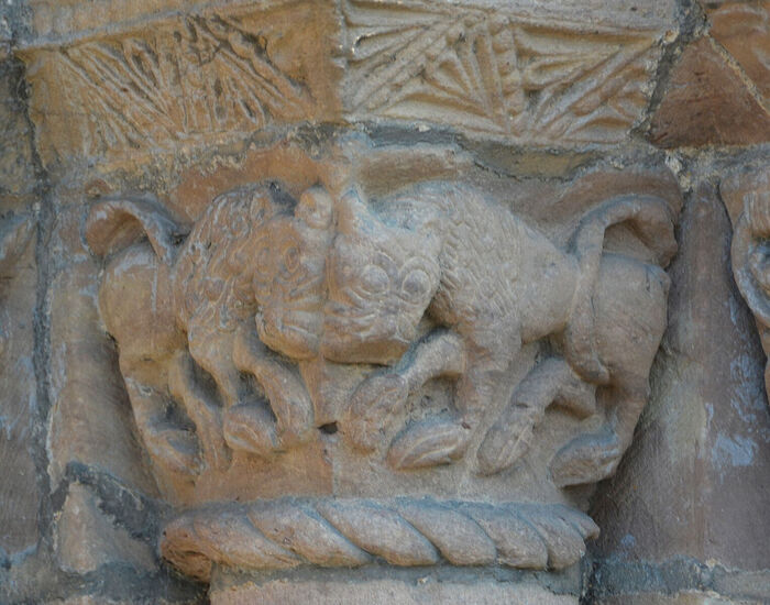 Splendid carvings on the west door capital of Leominster Priory, Herefordshire (kindly provided by Robert Walker)