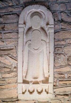 Relief stone sculpture of Madonna at Deerhurst church (copyright of Deerhurst Parochial Church Council)