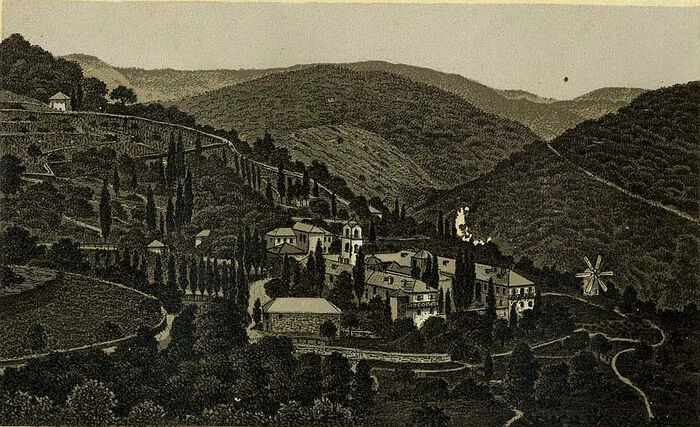 Lithograph of St. Elias Skete on Mt. Athos