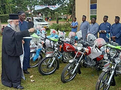 Priests of Tanzanian Diocese given motorcycles to visit 100s of parishes