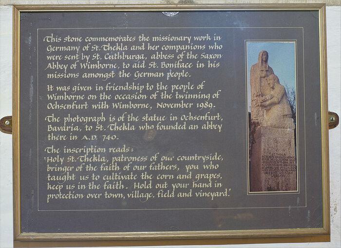 Inscription of St. Thecla stone at Wimborne Minster (kindly provided by Gordon Edgar, The Minster Church of St. Cuthburga, Wimborne Minster)