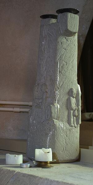 St. Thecla Stone in the crypt of Wimborne Minster, Dorset (kindly provided by Gordon Edgar, The Minster Church of St. Cuthburga, Wemborne Minster)
