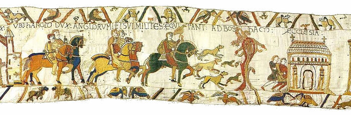 King Harold and his retinue are riding to Bosham before his ill-fated journey to Normandy, a scene from the Bayeux Tapestry (photo from Wikipedia)