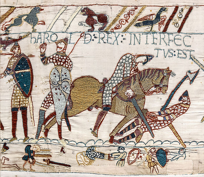 King Harold's death depicted at the Bayeux Tapestry (photo from Wikipedia)