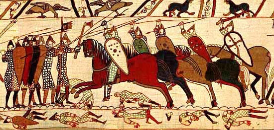 The Battle of Hastings shown on the Bayeux Tapestry (photo from Wikipedia)