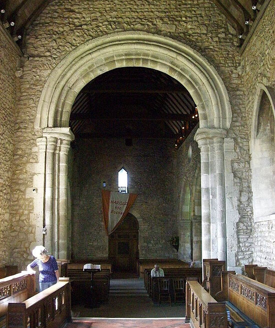 The chancel arch of the Holy Trinity Church in Bosham, West Sussex