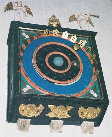 The fourteenth-century astronomical clock at Wemborne Minster, Dorset (photo from Geograph.org.uk)