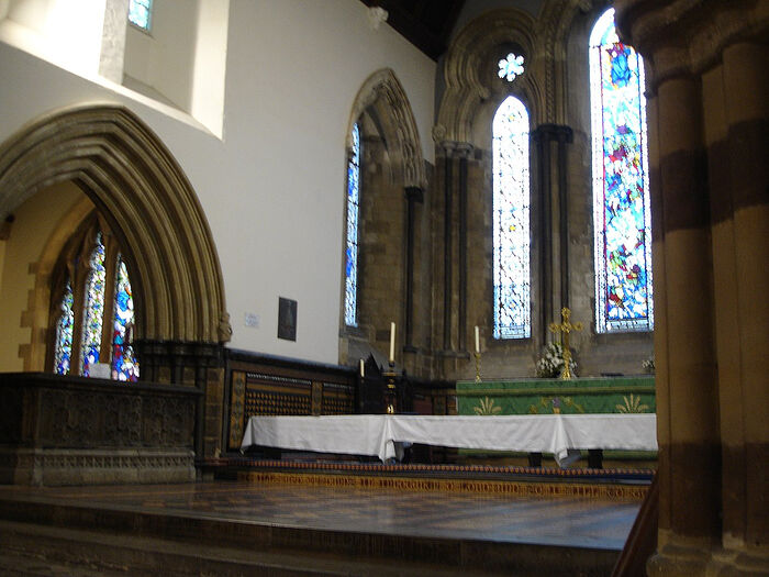 The High Altar and Ethelred I's brass at the Wemborne Minster Church, Dorset (photo from Wikipedia)