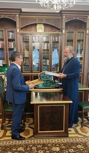 Встреча митрополита Кишиневского и всея Молдовы Владимира и нового председателя парламента Республики Молдова Игоря Гросу 2 августа 2021 г.