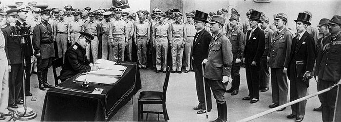 Подписание Акта о безоговорочной капитуляции Японии. Токийский залив, линкор «Миссури», 2 сентября 1945 г.