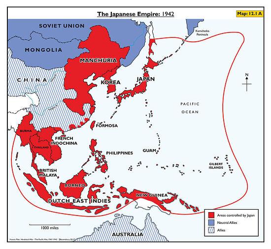 Территория Японской империи к 1942 г.