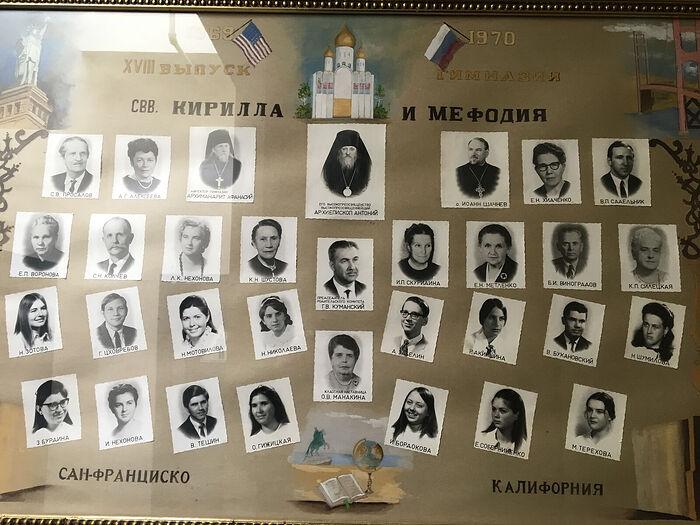 Выпуск православной гимназии в 1970-м году – вверху фото архиепископа Антония (Медведева)