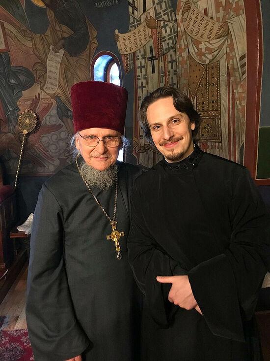 Archpriest Sergei Kotar with his son Nicholas, now a deacon