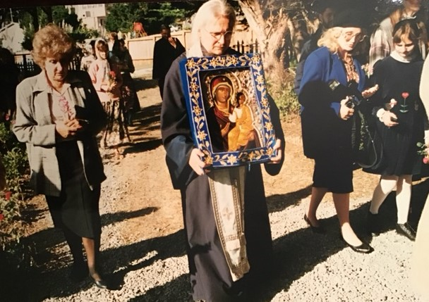 Fr. Serge with the myrrh-streaming Montreal Iveron Icon