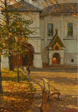 В Новоспаском монастыре. Художник: Дмитрий Левин