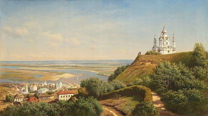 М. К. Клодт. Вид в Киеве из сада А. Н. Муравьёва. 1871 г.