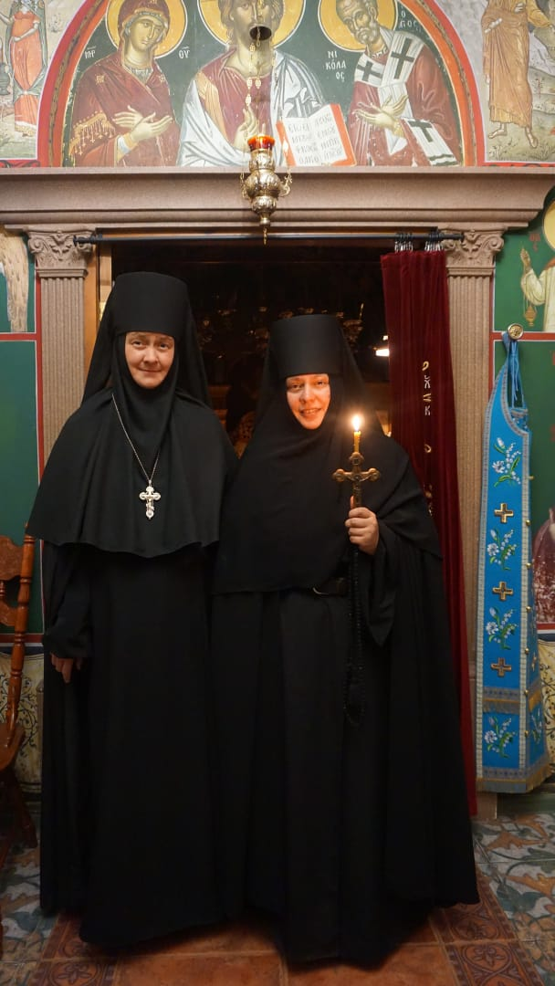On the day of her tonsure, with Abbess Ksenia of the Kazan-St. Tryphon Hermitage