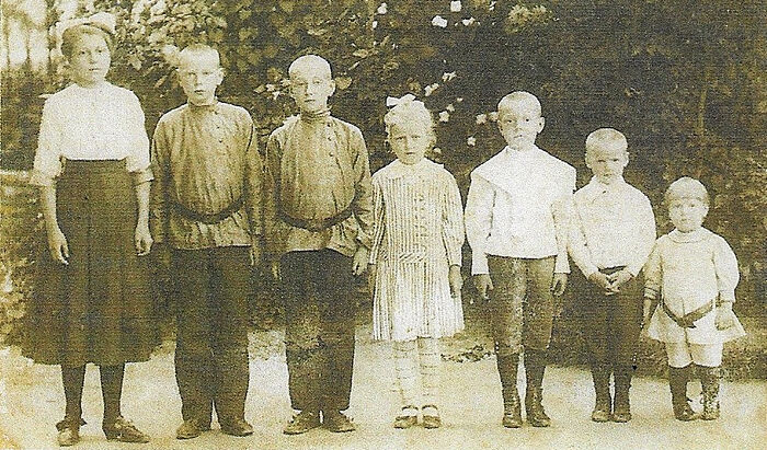The little Vakhromeevs. Bartholomew, the father of the future metropolitan, is the third from the right
