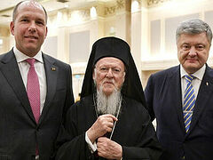 Schismatic church has political role of opposing Russia, Ukrainian World Congress head tells Patriarch Bartholomew