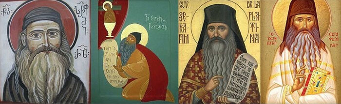 Georgian, Serbian, Romanian, and Greek icons of Fr. Seraphim