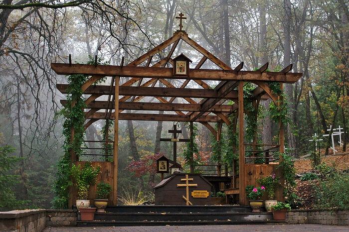 Fr. Seraphim's grave at St. Herman's Monastery in Platina, California. Photo: Reddit