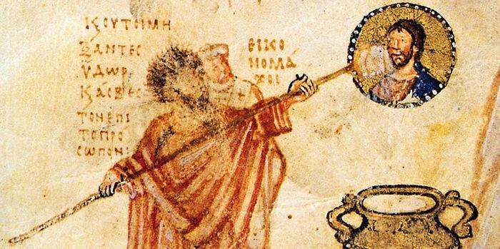 Иконоборцы Иоанн Грамматик и епископ Антоний Силлейский борются с фреской Христа, IX век