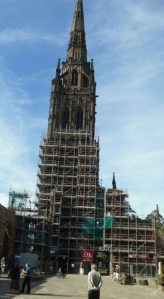 The spire of the bombed cathedral in Coventry. Photo by Irina Lapa