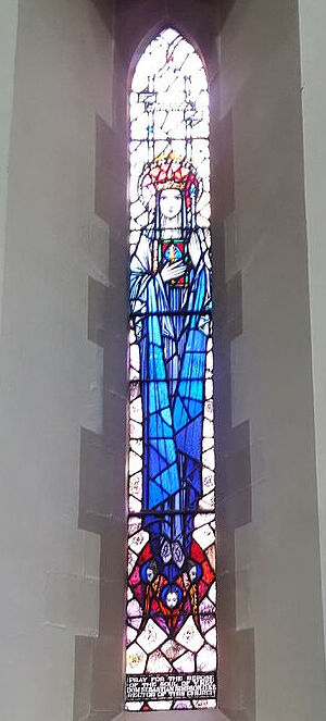 St. Osburga's stained glass window at the Lady Chapel of St. Osburg's RC Church in Coventry. Photo provided by Fr. Pontius Bandua