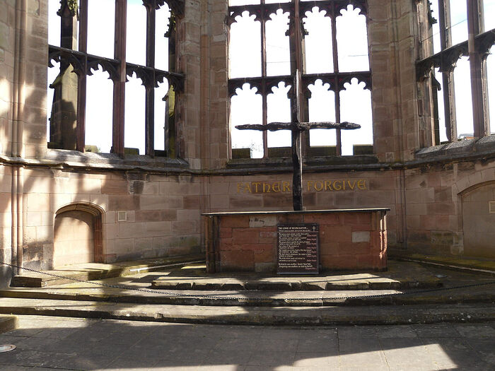 The altar and the Charred Cross by the bombed cathedral in Coventry, West Midlands. Photo by Irina Lapa