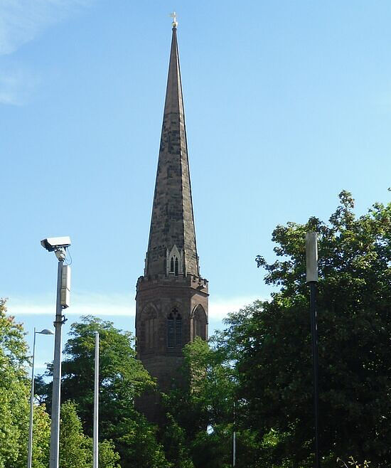 The spire of Christ Church Greyfriars in Coventry, West Midlands. Photo by Irina Lapa