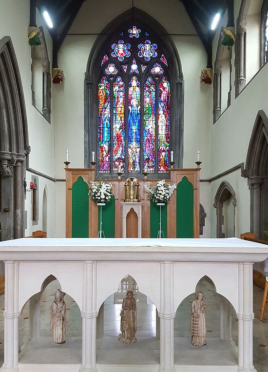 The sanctuary and altar of St. Osburg's RC Church in Coventry. Photo provided by Fr. Pontius Bandua